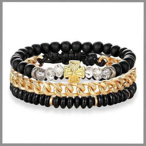 Stacked bracelet set in black and gold