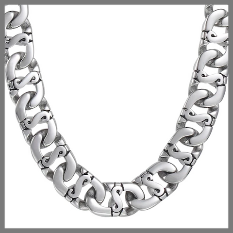 Chunky stainless steel designer chain necklace