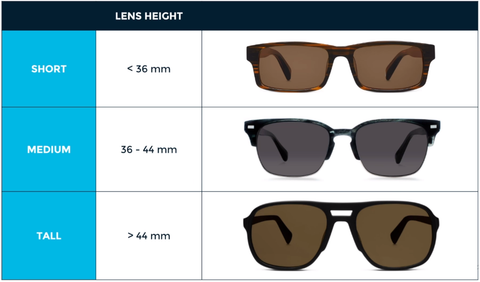 Sunglasses lens height