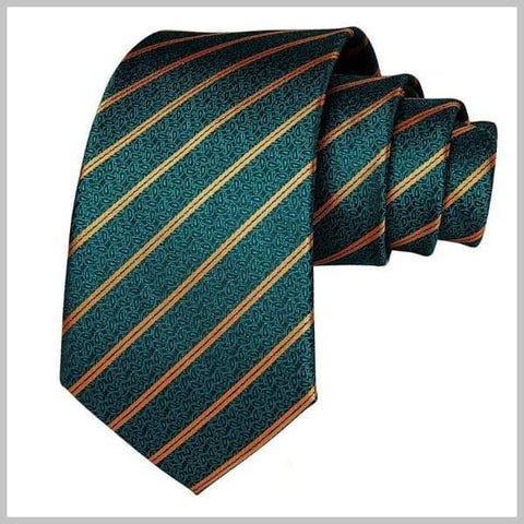 Teal and gold striped paisley tie