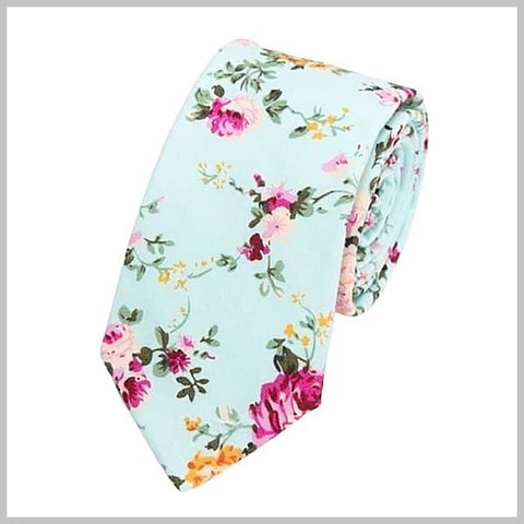 Turquoise green floral tie made of cotton