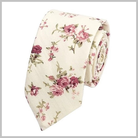 White floral skinny tie with pink flowers