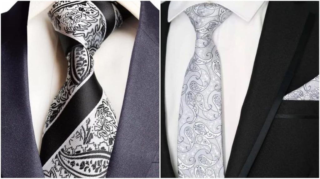 White Paisley Ties For Men