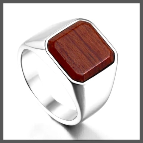 Wood pinky ring for men