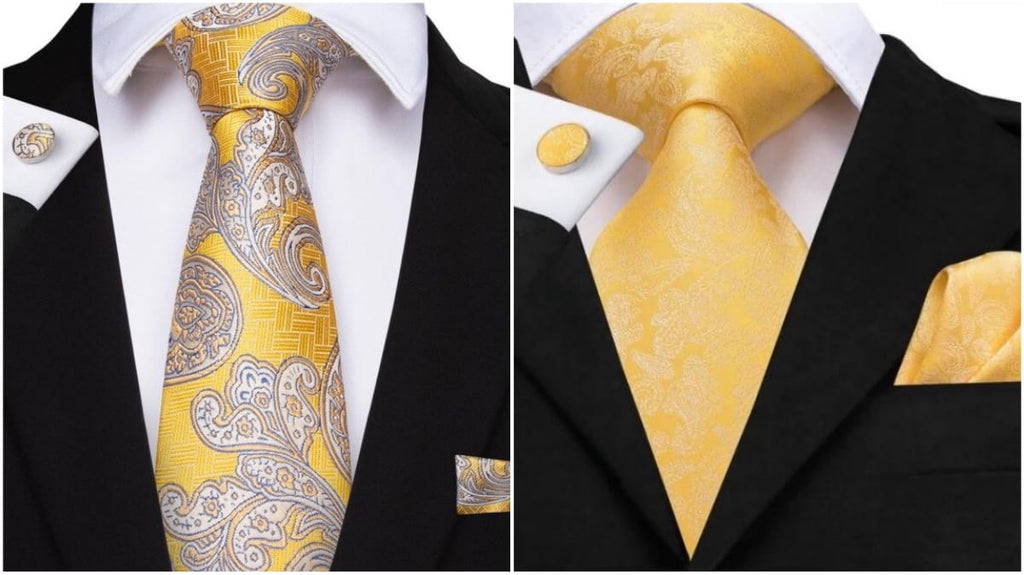 Yellow Paisley Ties For Men