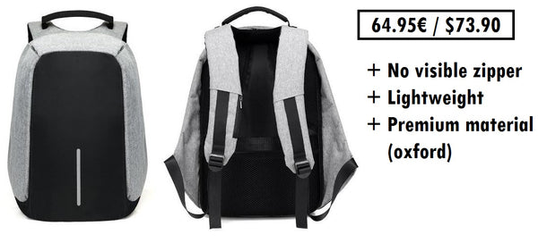 Anti-theft backpack without a visible zipper