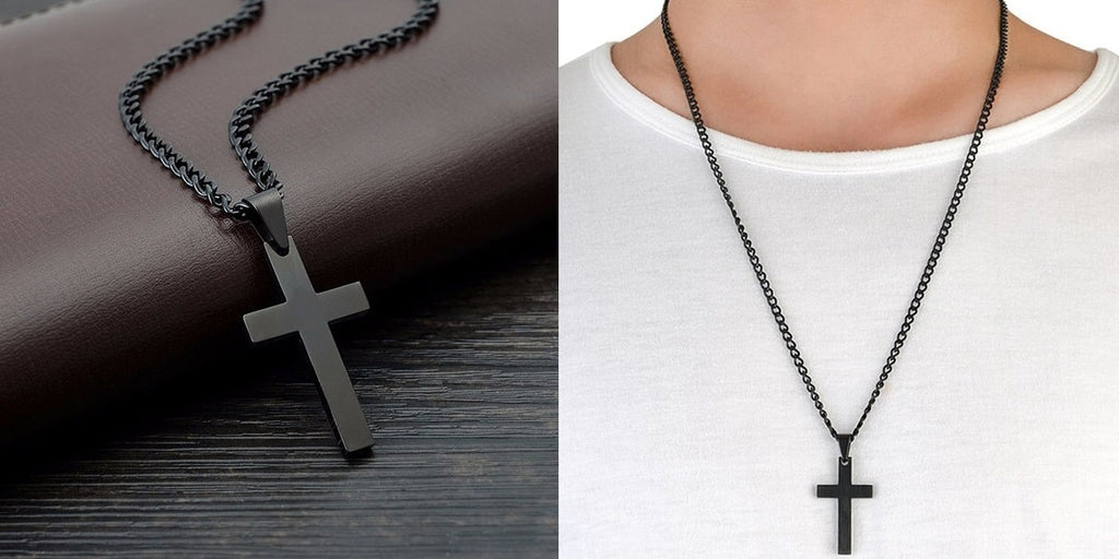 Black cross necklaces with a chain