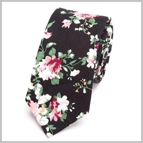 Black skinny floral tie made of cotton