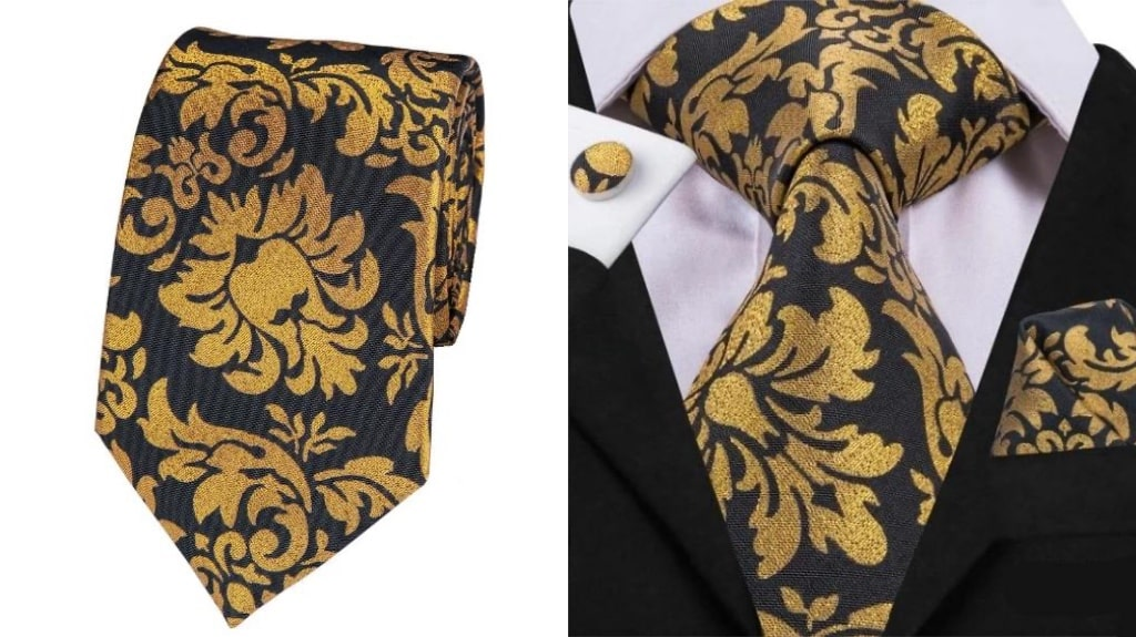 Black and gold silk tie for men