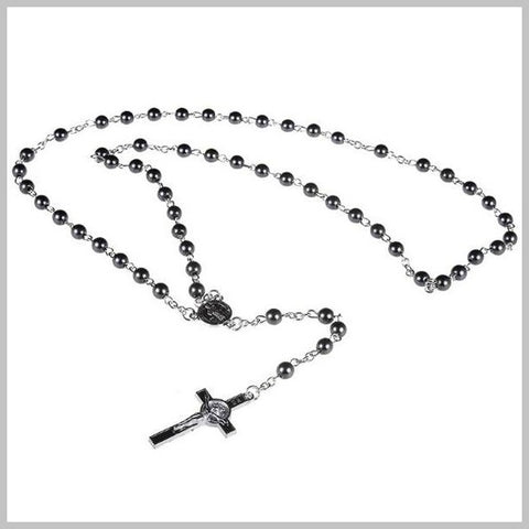 Black rosary necklace with stainless steel cross