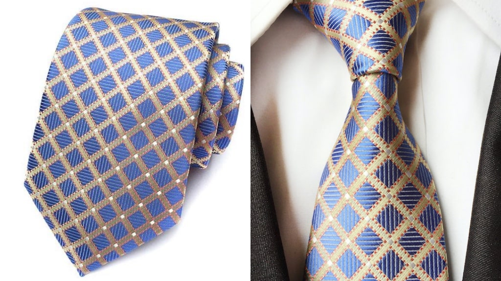 Blue and gold silk tie for men