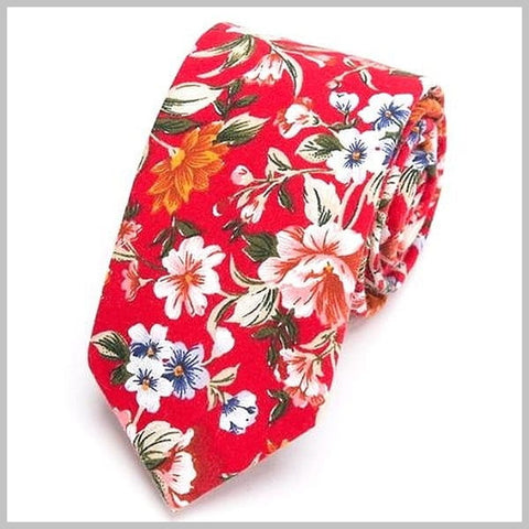 Bright red skinny floral tie made of cotton