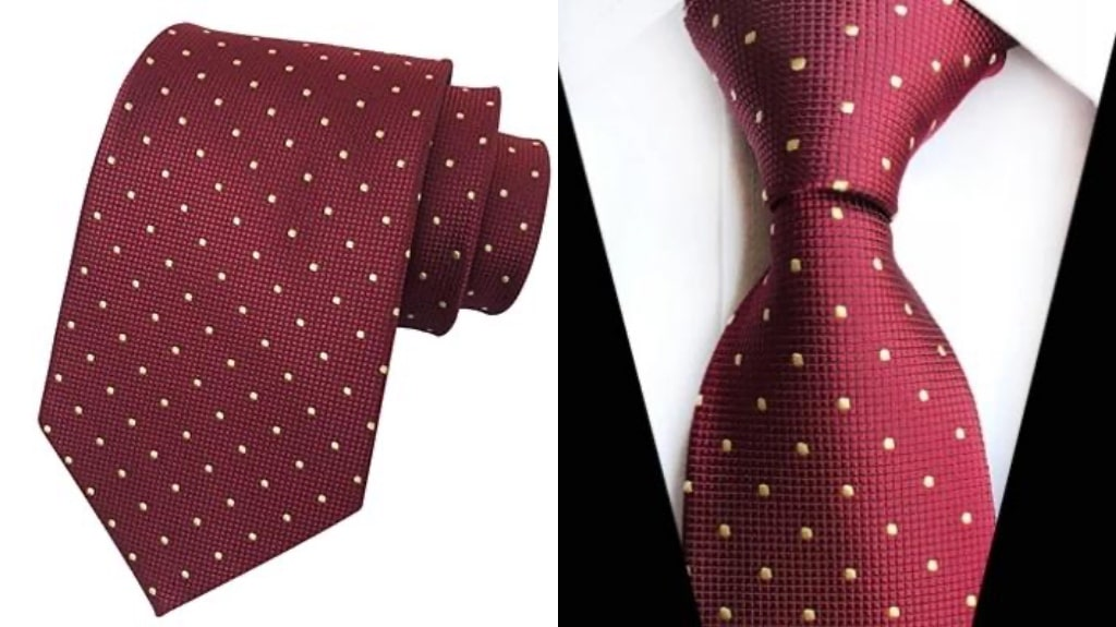 Burgundy and gold silk tie for men