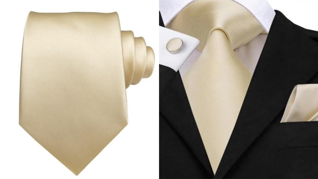 Champagne gold silk tie for men