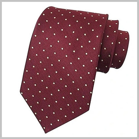 Classic burgundy red silk tie with white mini dots