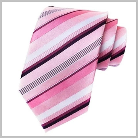 Classic pink striped necktie made of 100% silk