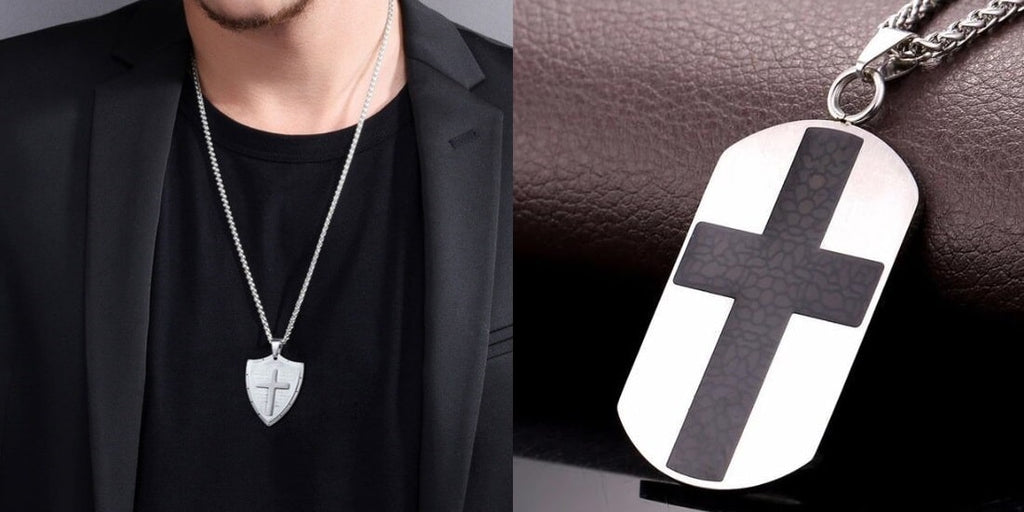 Cross plate necklaces for men