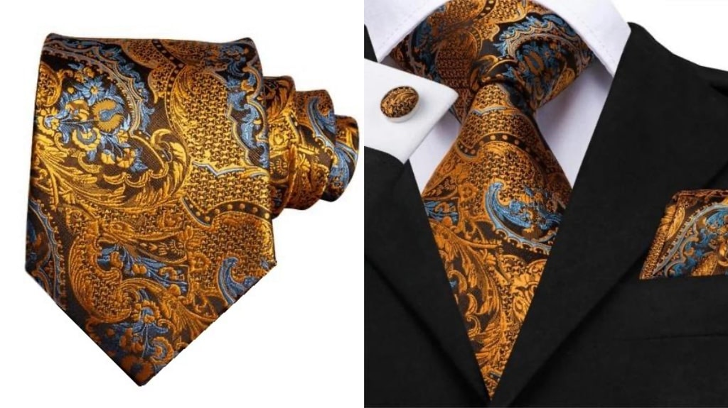 Dark gold silk tie for men