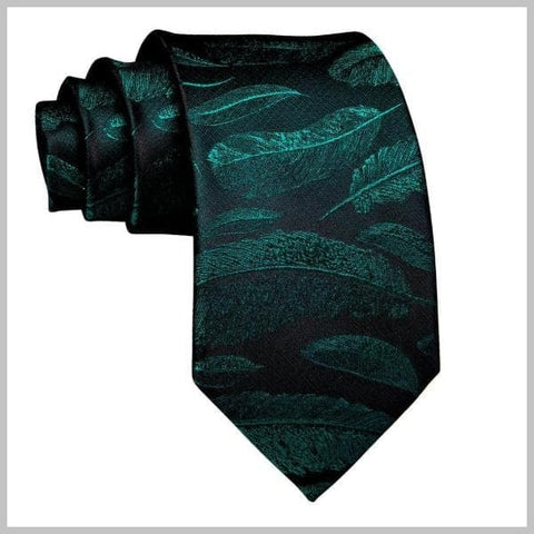Black and green feather tie made of silk