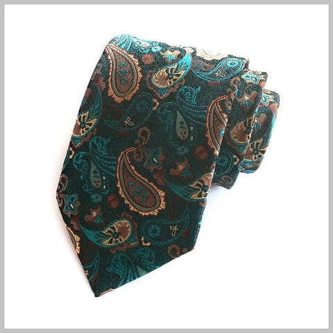 Emerald green silk paisley tie