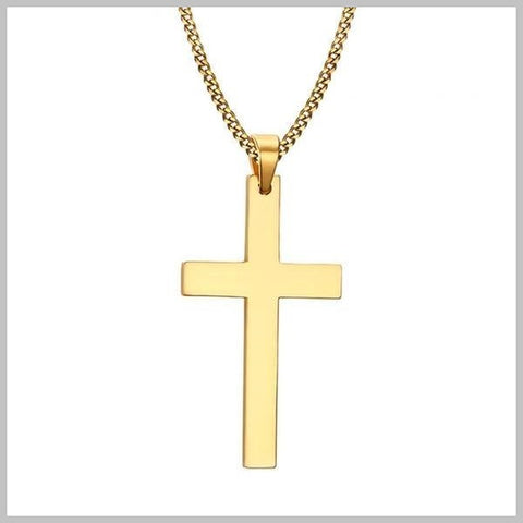 Gold Christian cross necklace with chain