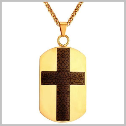 Gold cross dog tag necklace