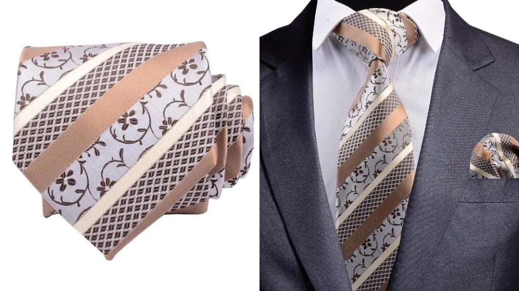 Gold floral silk tie for men
