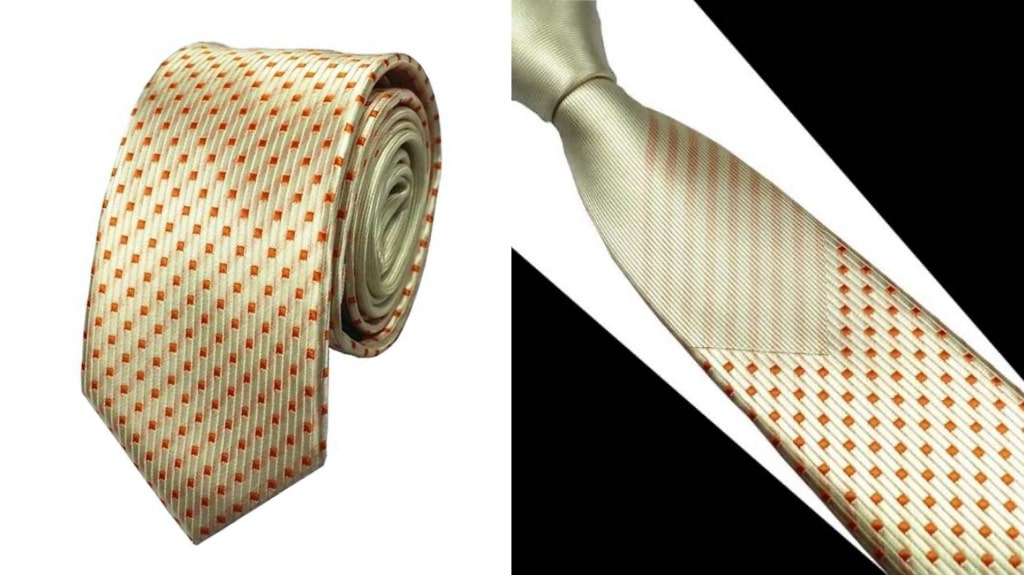 Metallic gold silk tie for men