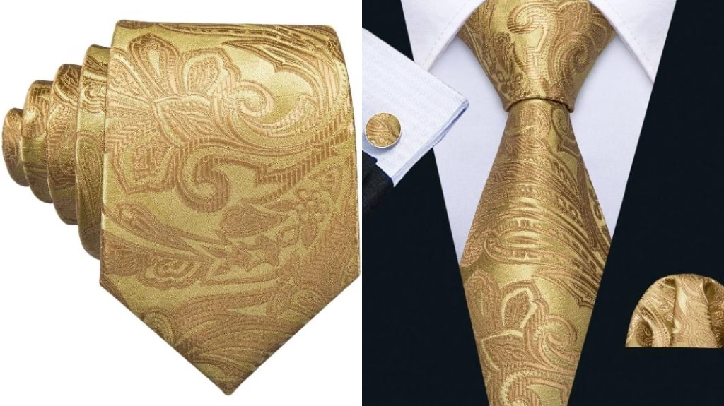 Gold paisley silk tie for men