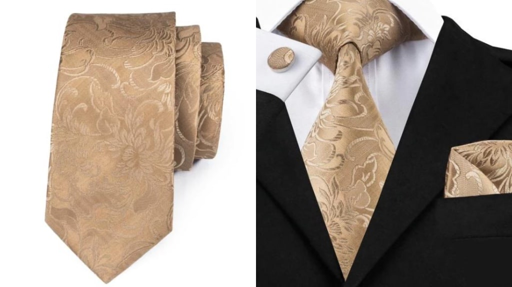 Gold silk tie for men