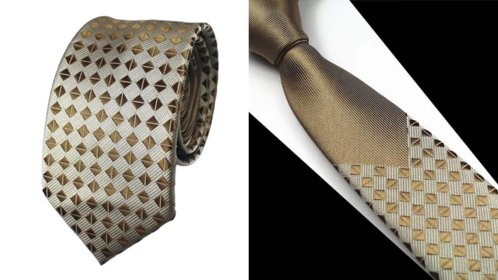 Gold skinny silk tie for men