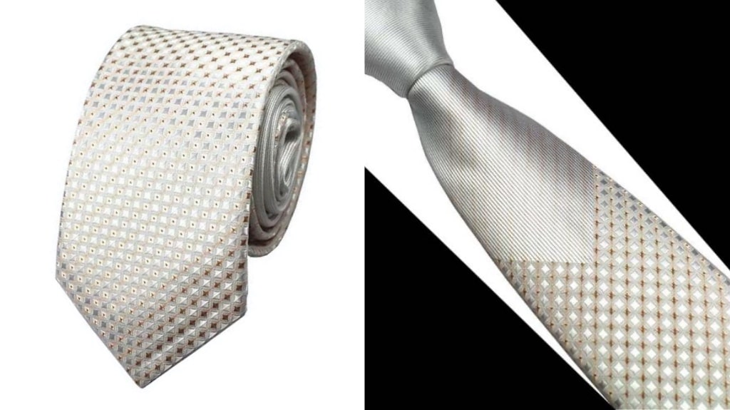 Gold silk tie for wedding
