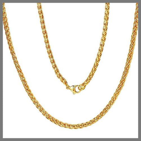 Gold wheat chain necklace