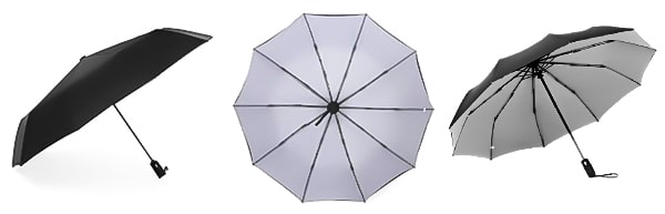 Grey & black 2-color umbrella displayed from three angles