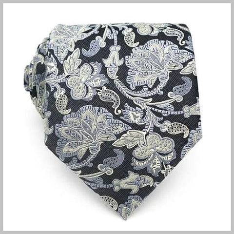 Grey floral tie made of silk