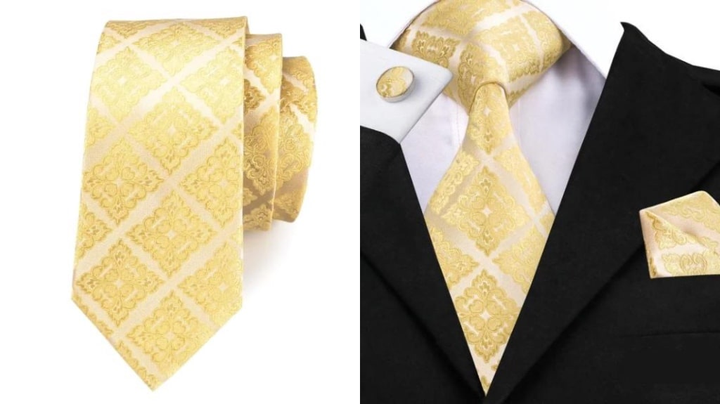 Light gold silk tie for men