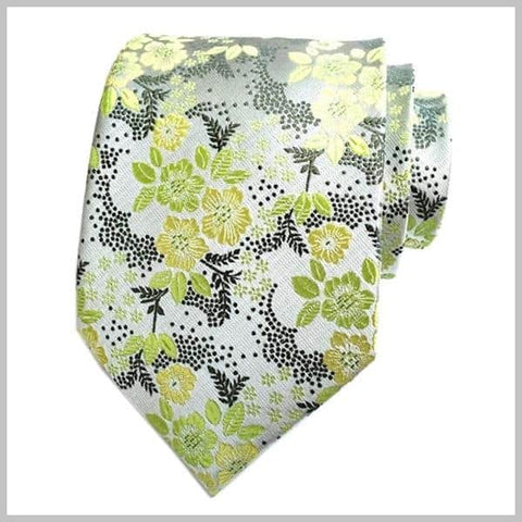 Light green floral tie made of silk