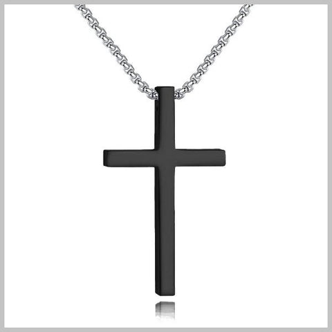 Long black cross necklace with a silver chain