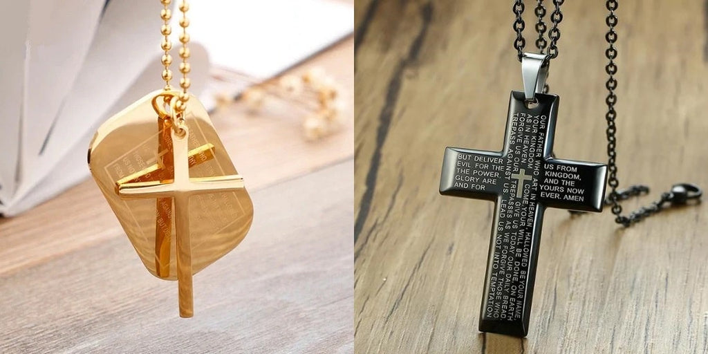 Gold Lord's Prayer necklace and black Lord's Prayer necklace with a chain