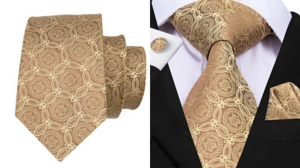 Gold luxury tie for men