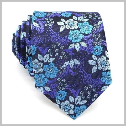 Midnight blue floral tie made of 100% silk
