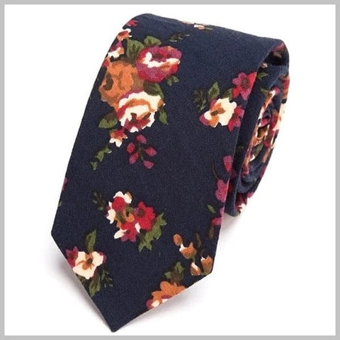 Navy blue floral tie made of 100% cotton