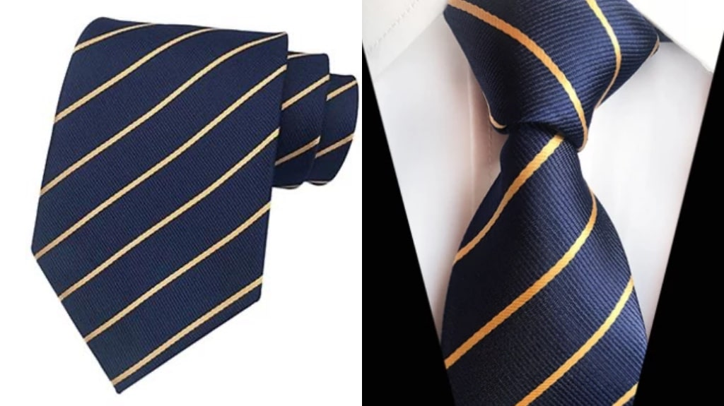 Navy blue and gold silk tie for men