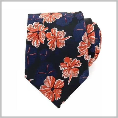 Navy tropic floral tie set made of 100% silk