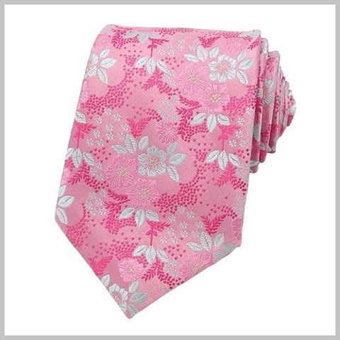 Pink floral tie made of 100% silk
