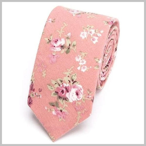 Pink floral skinny tie made of 100% cotton