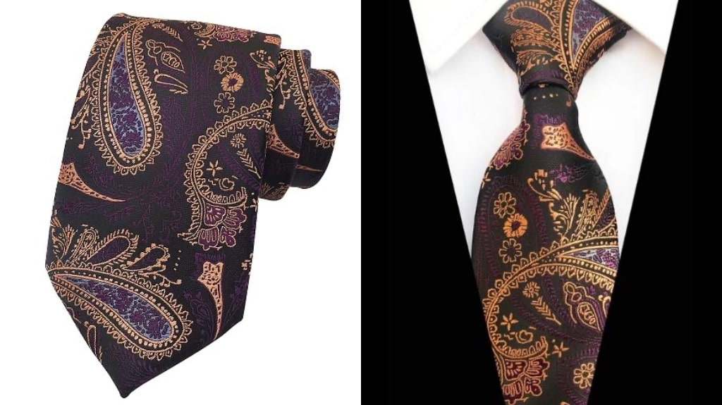 Purple and gold silk tie for men