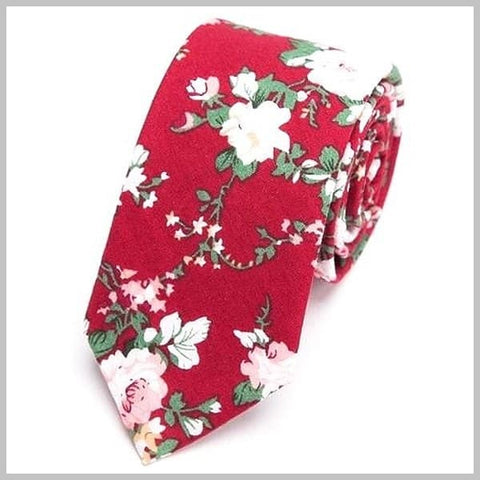 Red floral skinny tie handmade of cotton
