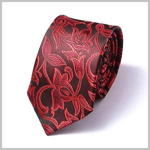 Red floral skinny tie made of 100% silk