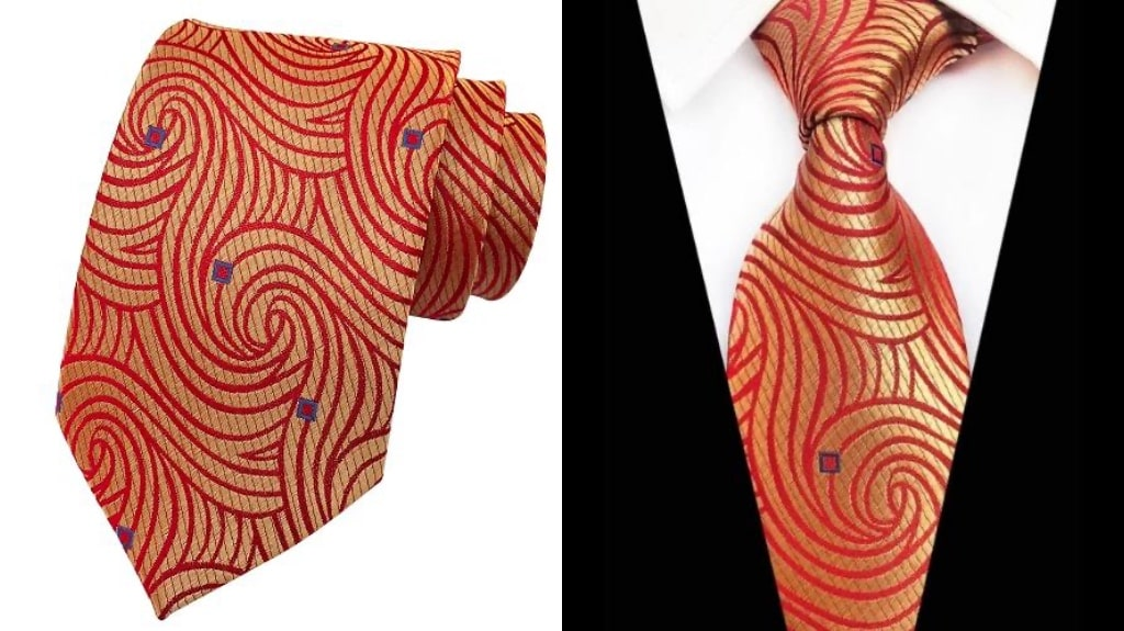Red and gold silk tie for men